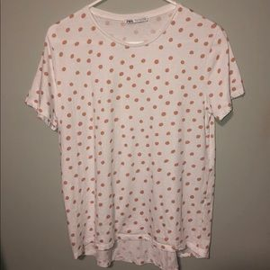 Zara White And Gold Polka Dot T-shirt